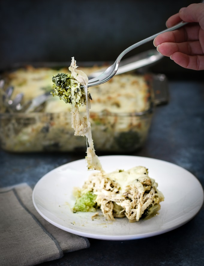 Chicken Spaghetti Casserole with Broccoli