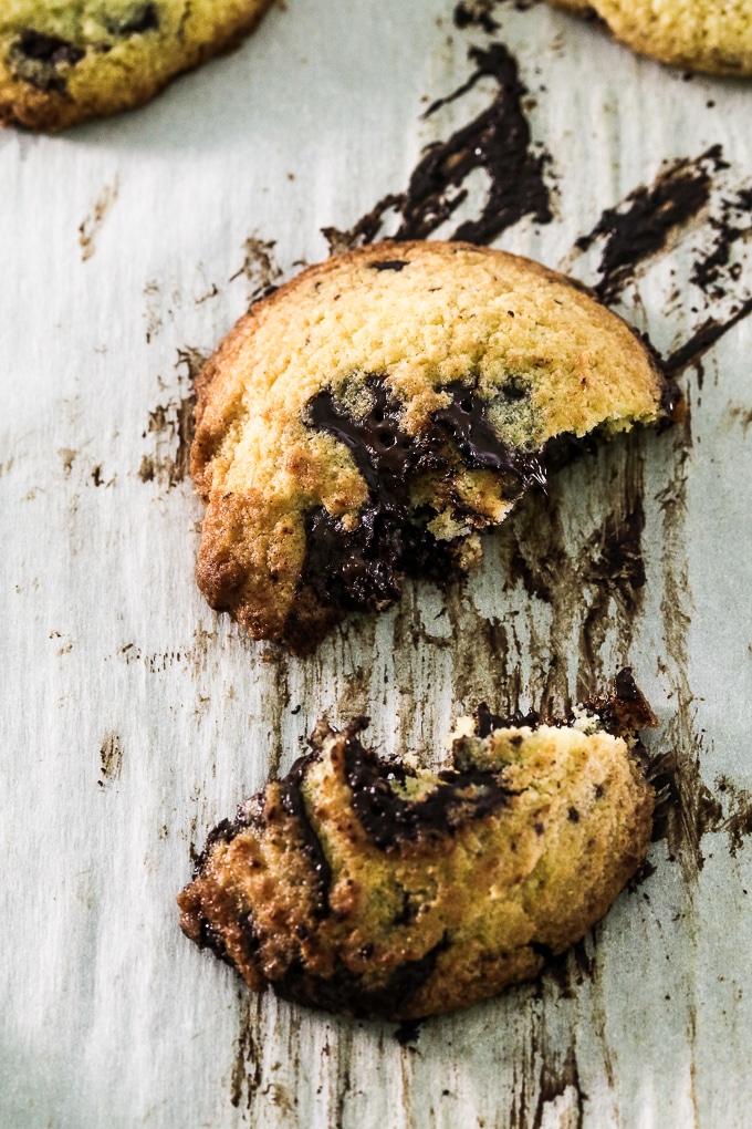 ooey gooey broken apart gluten free chocolate chunk cookie
