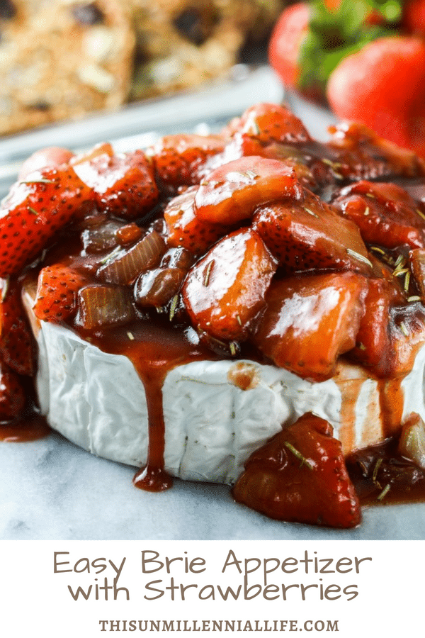 easy brie appetizer topped with strawberries