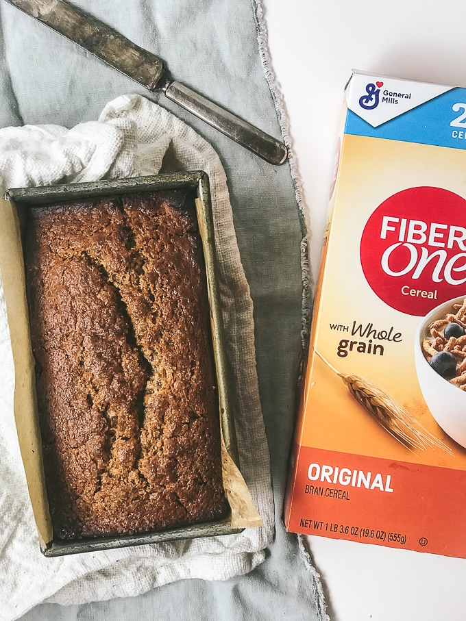 morning glory quick bread made with high fiber cereal